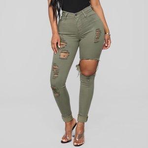 NWT Fashion Nova Green Distressed Glistening Jeans